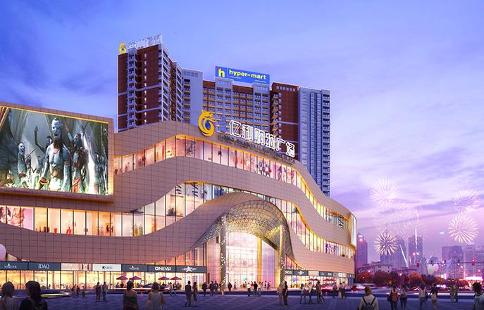 亿利购物广场外立面钢结构和装饰工程
